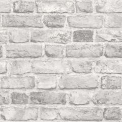 A realistic distressed grey brick wallpaper sample.