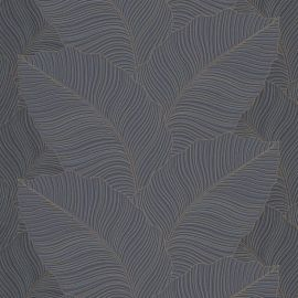 Bali Jungle Leaves Wallpaper Black/Blue