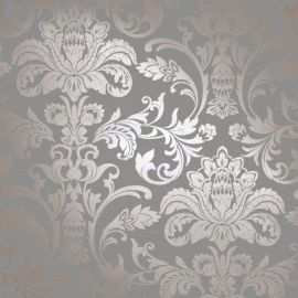 A rose gold damask pattern with a charcoal background.
