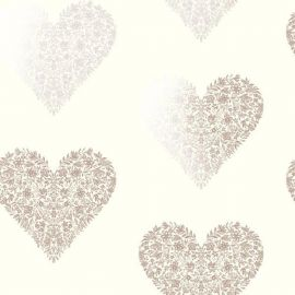 A cream wallpaper with floral and botanical rose gold hearts all over the surface.