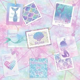 With a mottled glittering pink, blue and teal background with a variety of postcards and polaroids with mermaid-style images on and quotations like 'born to shine' and 'mermaid vibes' on them.