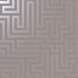 Glistening Maze Wallpaper - Grey/Rose Gold