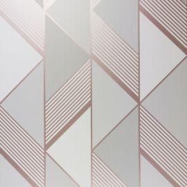 Lipsy London Geometric Wallpaper - Grey & Rose Gold