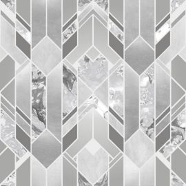 Elixir Geometric Marble Effect Wallpaper Silver