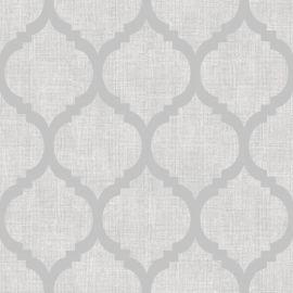 Zara Trellis Metallic Wallpaper Grey