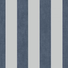 Linen Stripe Metallic Wallpaper Navy