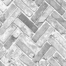Herringbone Brick Effect Wallpaper Grey