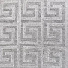 Greek Key Foil Wallpaper Silver