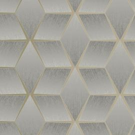 3D Geometric Textured Wallpaper Grey