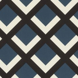 Retro Geometric Grid Wallpaper Blue Black & White