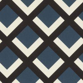 Retro Geometric Grid Wallpaper Blue Black & White