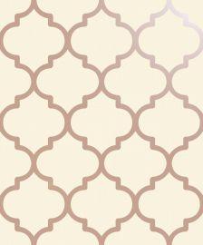 Metallic Lattice Wallpaper Cream & Rose Gold
