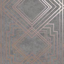 Delano Geometric Wallpaper Grey/Rose Gold