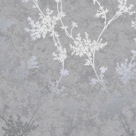 Chevril Metallic Floral Wallpaper Grey/Silver