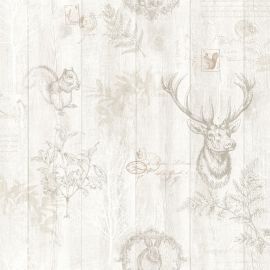 A realistic wood panel background with overlayed sketches of woodland creatures like stags and squirrels overlayed on top.