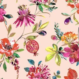 A blush pink background with exotic flowers and pomegranate with gild trims all over the surface of the wallpaper.