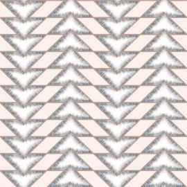A blush pink background with a triangle geometric pattern in four lines up and down each roll of wallpaper in grey. They are outlined with gold.