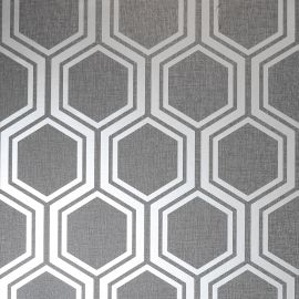 Luxe Hexagon Wallpaper Grey & Silver