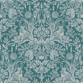 A woodland-style wallpaper with hedgehogs, rabbits and lots of English plants mirrored all over the green surface.