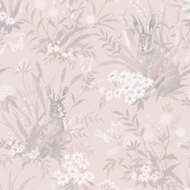 A light pink background with various hares with English countryside flowers and grass over a wallpaper sample.