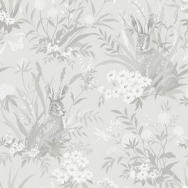 A grey background with various hares with English countryside flowers and grass over a wallpaper sample.