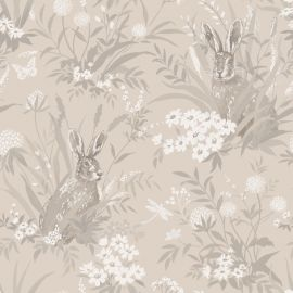 A taupe background with various hares with English countryside flowers and grass over a wallpaper sample.