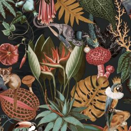 Wonderland Jungle Wallpaper Black