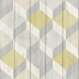 Copenhagen 3D Wood Panel Wallpaper Mustard with a geometric yellow and grey pattern over the top of a wood panelled background.