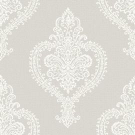 A light grey/taupe background (lightly textured) with a detailed damask-style pattern on top in white.