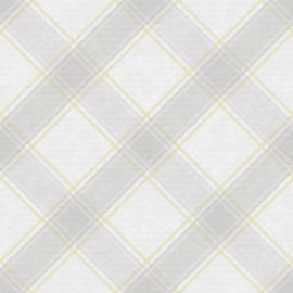 A light grey and yellow subtle tartan wallpaper sample. There is a rustic-style wooden bed with grey bedding and various cushions on top. There is a side table with a floral display on top.