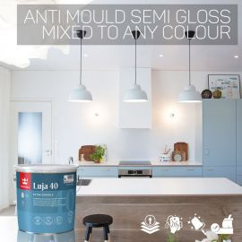 Tikkurila Luja 40 Scrubbable Semi-Gloss for Bathrooms & Wall Tiles - Colour Match