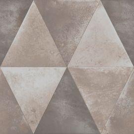 An industrial geometric design in a taupe colour in triangles.