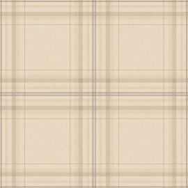 A cream tartan wallpaper sample wit delicate lines throughout.