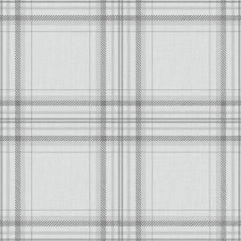 A grey tartan wallpaper sample wit delicate lines throughout.