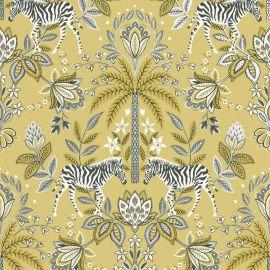 Etosha Jacobean Zebra Wallpaper Mustard
