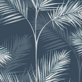 South Beach Exotic Palm Leaf Wallpaper Navy