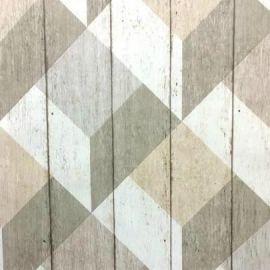 Unplugged Wood Style Geometric Natural Wallpaper