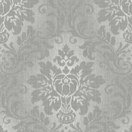 Fabric Damask Glitter Wallpaper Grey. Fabric background with a metallic damask pattern on top.