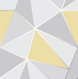 Apex Geo Metallic Wallpaper Mustard & Grey