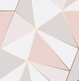 Apex Geo Metallic Wallpaper Pink & Rose Gold