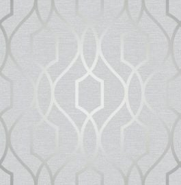 Apex Trellis Metallic Wallpaper Stone & Silver