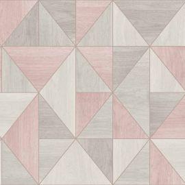 Apex Wood Panel Wallpaper Dusky Pink & Rose Gold