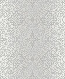 Delphi Glitter Damask Wallpaper-Silver
