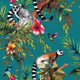 Lemur Jungle Metallic Wallpaper Teal
