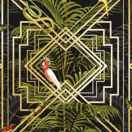 Congo Tropical Geometric Wallpaper Black
