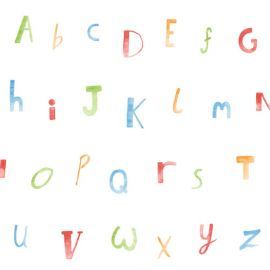 A white wallpaper with rainbow alphabet letters all over it.