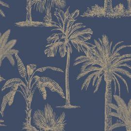 Glistening Tropical Tree Wallpaper Navy