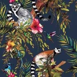 Lemur Jungle Metallic Wallpaper Midnight Blue