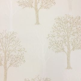 With a cream background and gold and light gold trees with sequins glittering all over the surface of the wallpaper.
