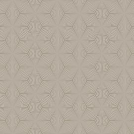 A taupe background with a detailed star geometric pattern in a shimmering gold overlayed on top.